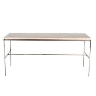 Tucker Travertine Top Console Table For Sale