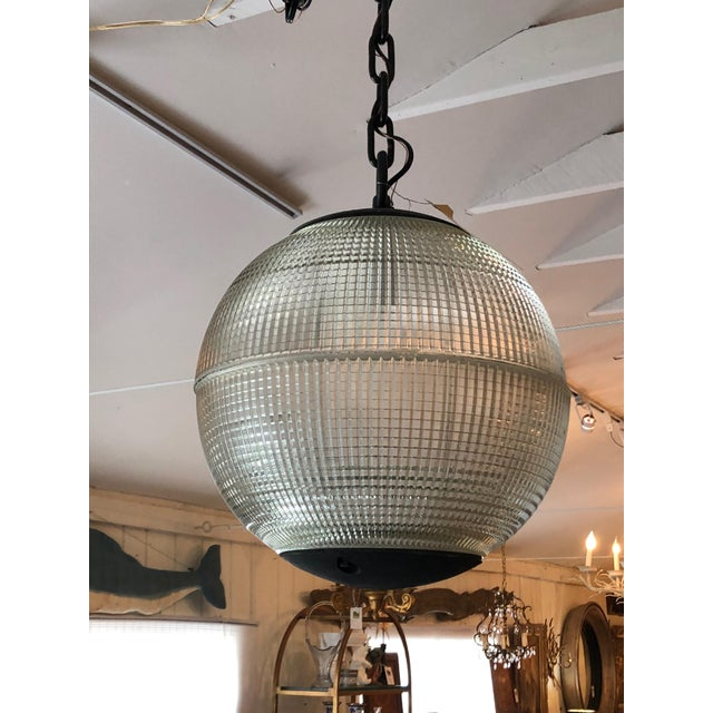 Parisian Holophane Globe Pendant Chandelier For Sale - Image 12 of 13