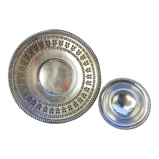 Birks Regency Silverplate Reticulated Serving Plate With Extra Nut Dish - 2 Pieces For Sale
