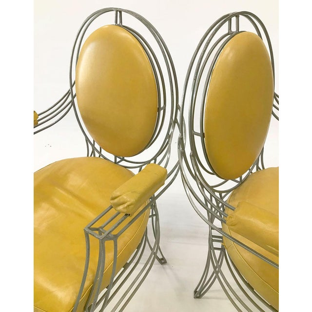 Casamidy Leather and Iron 'Opera' Armchairs - Set of 4 For Sale - Image 4 of 10