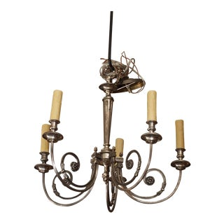French Silvered Metal Chandelier, early 20th century For Sale