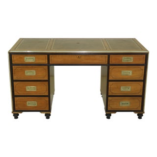 Baker Satinwood Leather Top Campaign Style Desk For Sale