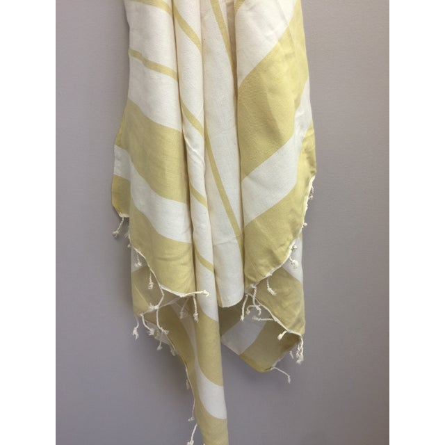 Turkish Mustard Striped Bath Towel For Sale - Image 4 of 8