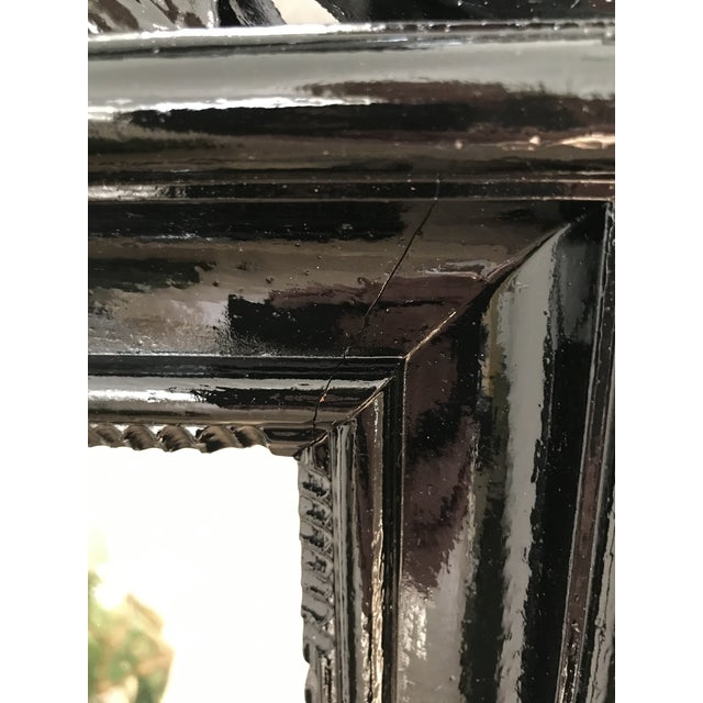 Resin Coastal Regency Ornate Scalloped Shell Black Lacquered Mirror For Sale - Image 7 of 13