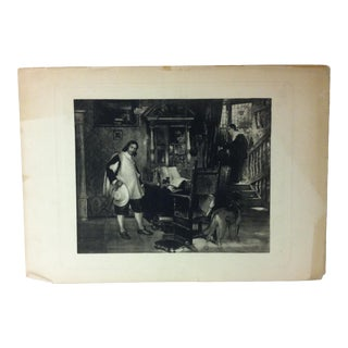"Vintage Print on Paper, ""The Study"" -- Artist Unknown, Circa 1900 For Sale"