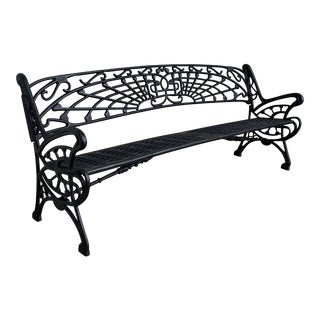 New Large Black Cast Aluminum Garden or Park Bench For Sale
