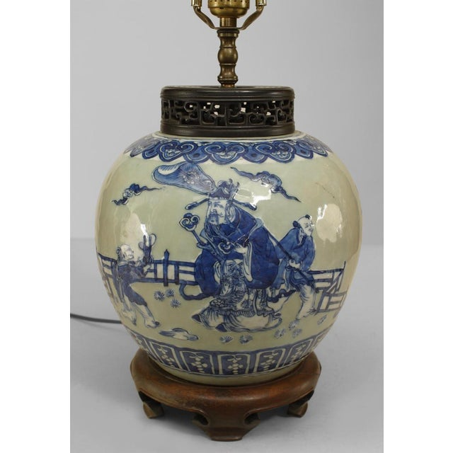 Asian Asian Chinese Style Celadon Porcelain Lamp For Sale - Image 3 of 4