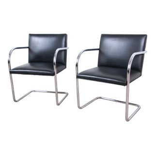 Mies Van Der Rohe for Knoll Black Leather and Chrome Brno Chairs, Pair For Sale