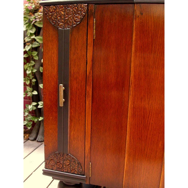 Early 20th-C. Oak & Black-Painted Liquor Cabinet - Image 5 of 11