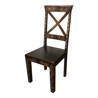 Hand-Made Teak Side Chair With Bone Inlay For Sale