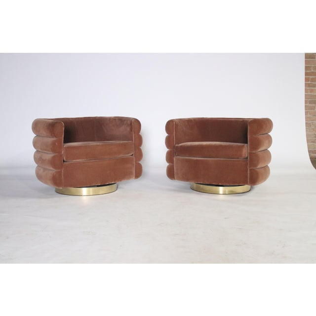 Milo Baughman Thayer Coggin Swivel Chairs - a Pair For Sale In Chicago - Image 6 of 8