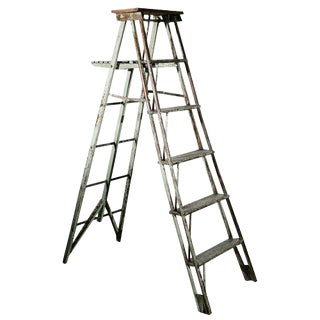 Vintage Rustic Painted Ladder as a Display Stand For Sale