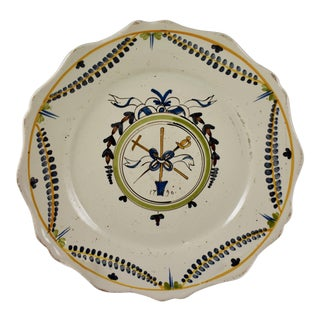 18th C. Nevers French Revolution Tin-Glazed Dish, Les Trois Domaines