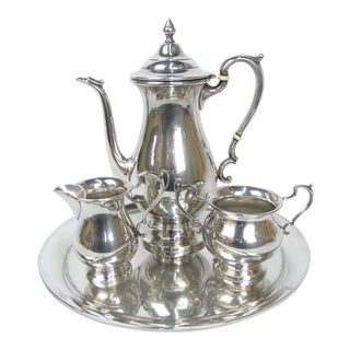 Early 20th Century Hunt & Watson Sterling Tray & Coffee Set of 4 For Sale