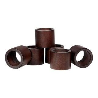 Mahogany Wood Napkin Rings - Set of 6 For Sale
