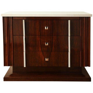 Art Deco Rosewood Commode With Three Drawers and Travertine Top, France, 1940s For Sale