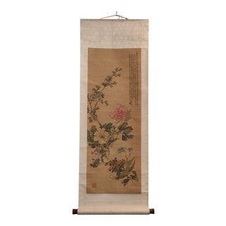 Early 20th Century Antique Chinese Ink and Color Calligraphy Floral Scroll For Sale