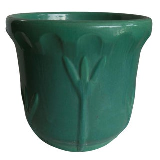 Garden City Iris Ceramic Planters in Tea Dust Green For Sale