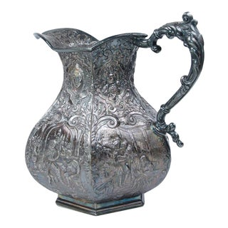 Antique 19th Century Silver Plated Repousse Water Pitcher For Sale