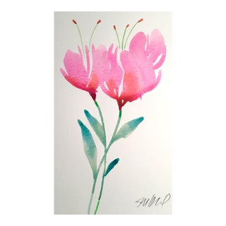 Two Tulips Watercolor Painting For Sale