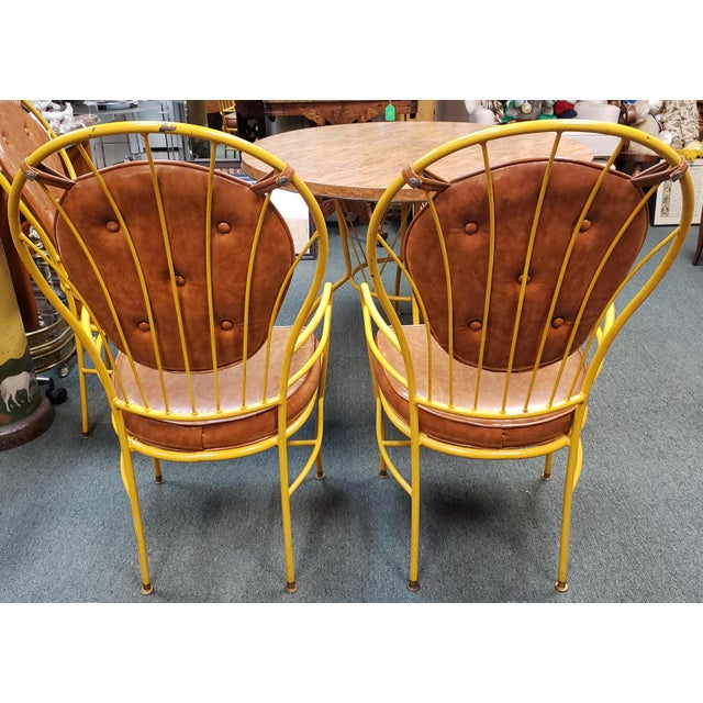 Yellow Mid Century Faux Burlwood Yellow Enamel Painted Metal Dinette Set - 5 Pieces For Sale - Image 8 of 11