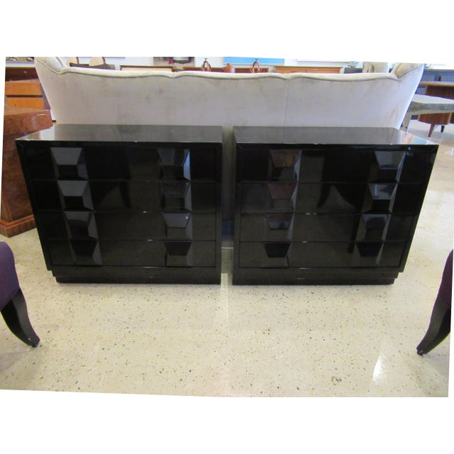 1960s Italian Modern Black Lacquered Nightstands, Poltronova, 1960's For Sale - Image 5 of 10