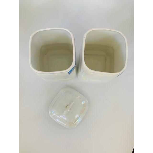 Ceramic Art Nouveau Victoria Czech Slovakia Luster Ware Canisters Jars Iridescent Set For Sale - Image 7 of 13