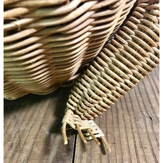 Tan 1970s Mid Century Wicker Frog Basket With Glass Marble Eyes For Sale - Image 8 of 9