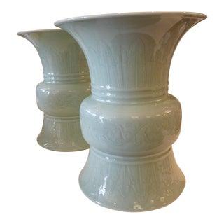 Celadon Green Ceramic Glazed Urns - A Pair
