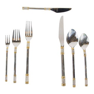Elegant Mid-Century Modernist Set of Sterling & Gold Flatware by Wallace Service For Sale