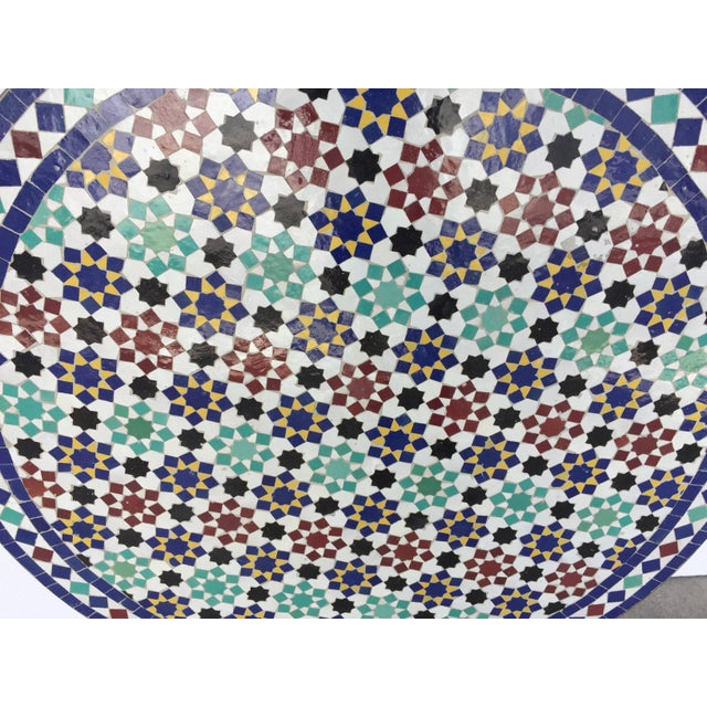 Moroccan Round Mosaic Tile Outdoor Table in Moorish Fez Design For Sale - Image 4 of 10