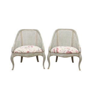 1980s Vintage French Provincial Style Caned Back Bergeres- a Pair For Sale