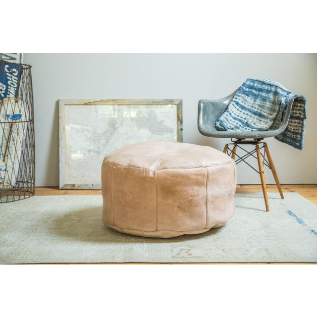 Perfect addition for any space is our Old New House™ exclusive antique  revival hand- - Antique Revival Nude Leather Pouf Ottoman Chairish