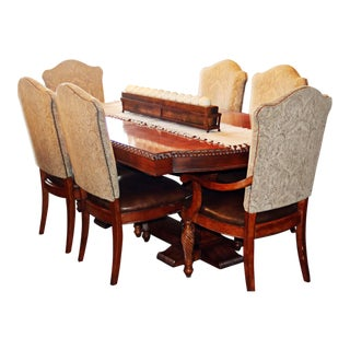 1990s Hickory White Legends Dining Room Table and Chairs Set For Sale