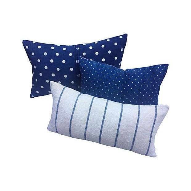 French Indigo Grain Sack Pillows- Set of 3 - Image 1 of 5