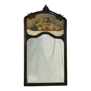 1927 Vistenbing Country French Hand Carved Oak Trumeau Mirror, Signed For Sale