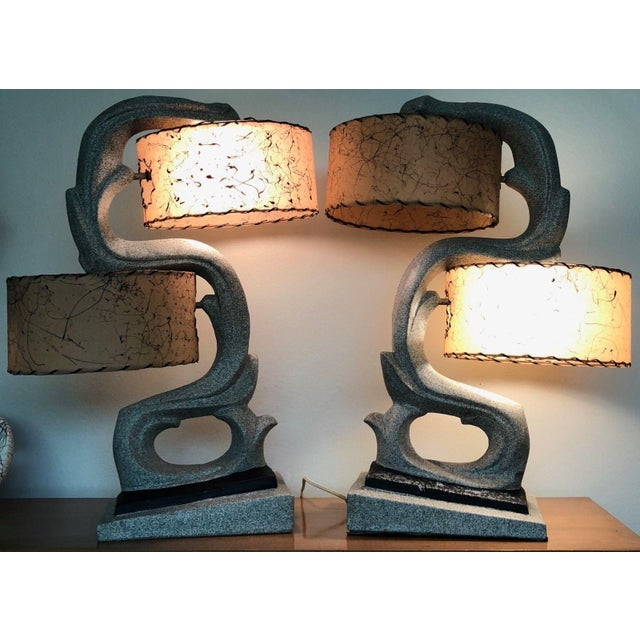 Chalk Fabulous 1950s Chalkware Table Lamp Set With Fiberglass Shades Mid Century Modern Atomic Era Retro For Sale - Image 7 of 13