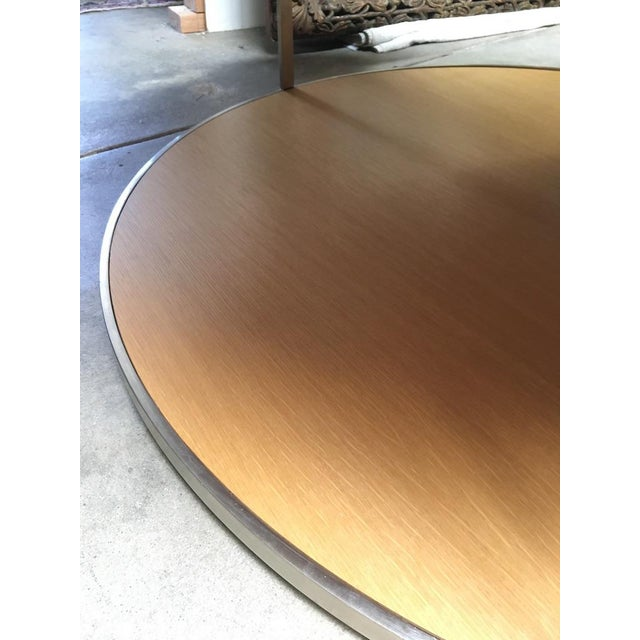 Tan Circular Modern Stainless Steel and Oak Coffee Table For Sale - Image 8 of 11