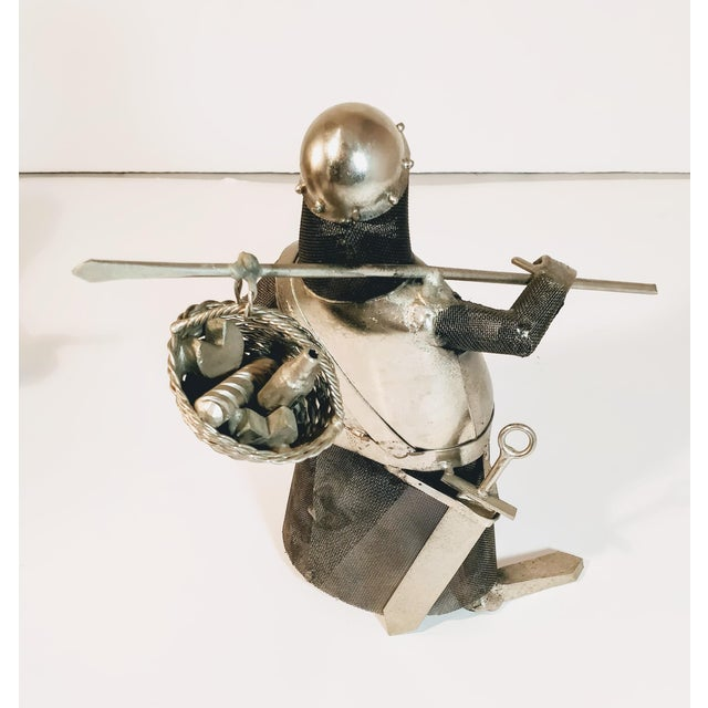 Boho Chic Vintage Metal Knight Figurines - Set of 3 For Sale - Image 3 of 13