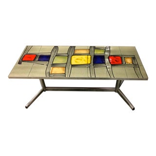 Abstract Painted Tile Coffee Table For Sale