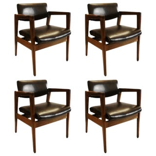 Classic Set of Four Armchairs by w.h. Gunlocke Chair Co. For Sale
