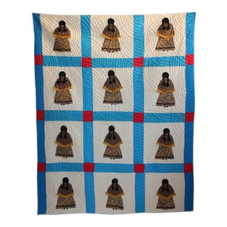 Rare Pictorial Indian Girl Applique Quilt From Oklahoma For Sale