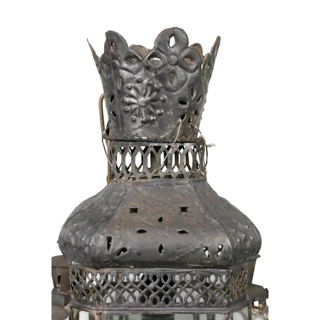 Moroccan Black Painted Tole Hall Lantern For Sale - Image 4 of 11
