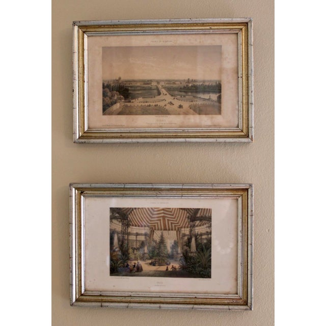 French Country Prints in Silver and Gold Bamboo Style Wooden Frames - a Pair For Sale - Image 10 of 10