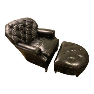 1960s Vintage Ralph Morse Rare Leather Club Chair & Ottoman For Sale