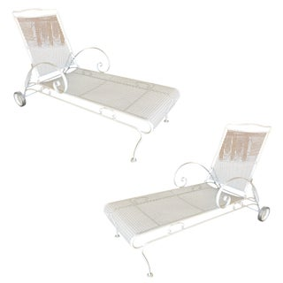 Iron Mesh Outdoor / Patio Chaise Lounge by Woodard, 2 Available For Sale