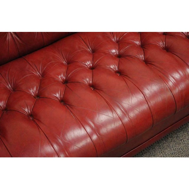 Mid 20th Century Vintage Red Leather English Chesterfield Style Button Tufted Sofa by Jasper For Sale - Image 5 of 11