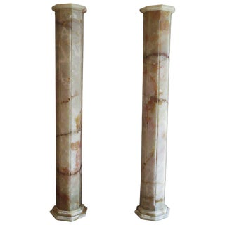 Matched Pair of Lighted Onyx Column Lamps For Sale
