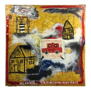 Modernistic Painting in the Manner of Jean-michel Basquiat, Circa 1980 For Sale