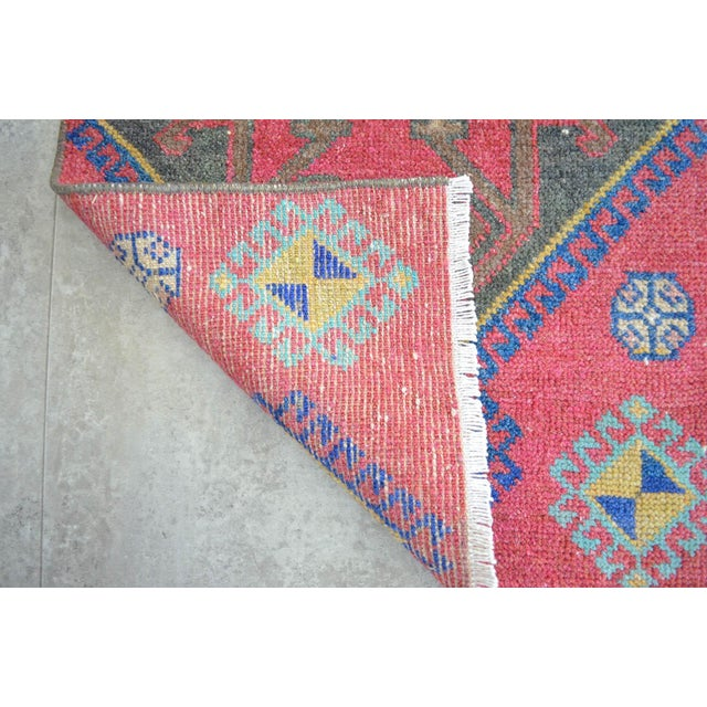 Distressed Low Pile Turkish Yastik Petite Rug Hand Knotted Faded Mat - 19'' X 38'' For Sale - Image 4 of 5